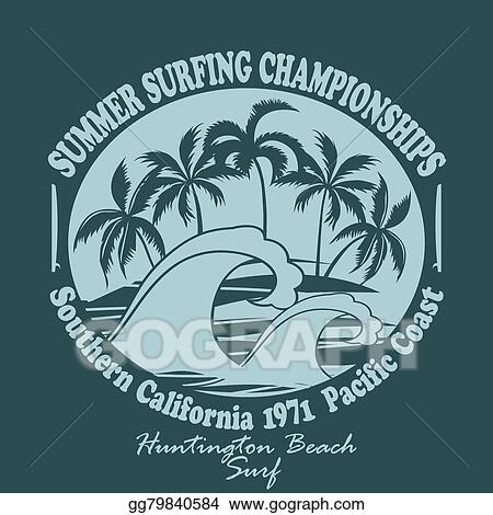 Clip Art Vector - Surfers wear typography emblem huntington beach