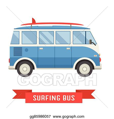 3f1956ca63 Vector Stock - Surfing tourist summer bus vector icon. Clipart ...