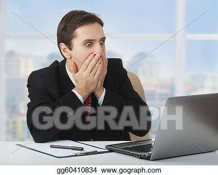 Stock Photograph Surprised Frightened Businessman Looking