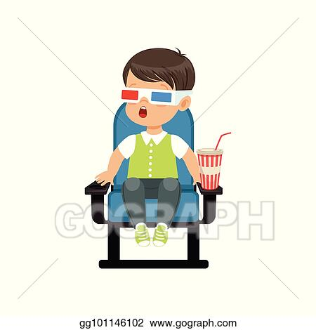 Superb Clip Art Vector Surprised Little Boy In 3D Glasses Sitting Gmtry Best Dining Table And Chair Ideas Images Gmtryco