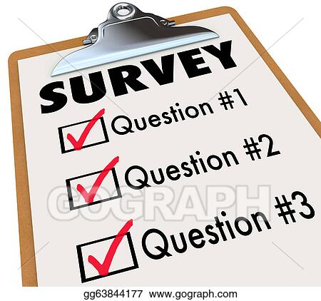 checklist clipart. stock illustrations a checklist on wooden clipboard with the word survey and list of questions to gather customer or audience feedback clipart