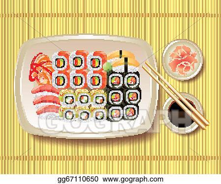 Vector Illustration Sushi And Chopsticks On Bamboo Mat