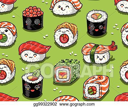 Vector Art Sushi And Sashimi Seamless Pattern In Kawaii