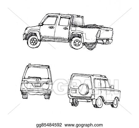 Stock Illustration - Suv and truck car hand sketch different angle ...