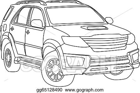 Vector Stock Suv Car Outline Vector Clipart Illustration