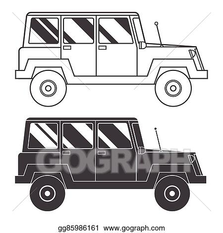 Vector Stock Suv Jeep Outline And Thin Line Icon Clipart