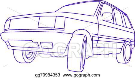 Vector Illustration Suv Outline Stock Clip Art Gograph
