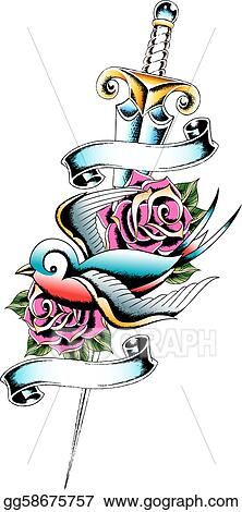 Stock Illustration Swallow And Rose Tattoo Clipart Gg58675757