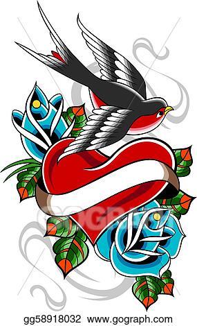 Clipart Swallow Rose Heart Tattoo Stock Illustration Gg58918032
