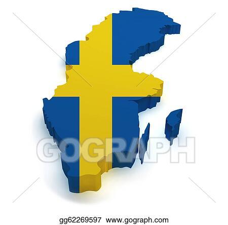 Drawings Sweden Map D Shape Stock Illustration Gg - Sweden map 3d