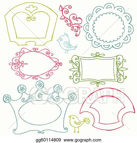 Clip Art Vector - Sweet doodle frames with birds and flower elements ...