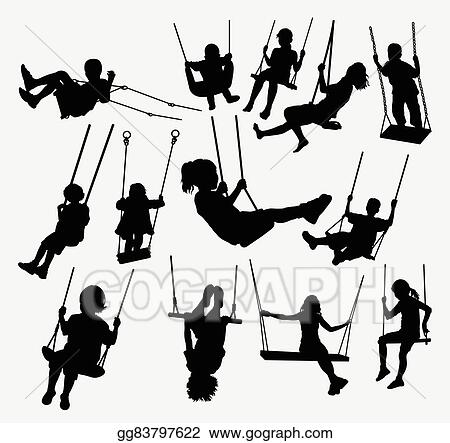 Vector Art Swing People Silhouette Clipart Drawing