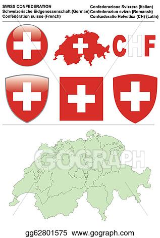 Stock Illustration Switzerland Collection Including Flag Map