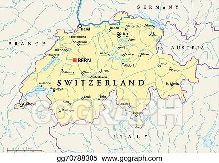 Map Of France And Switzerland Border.Eps Illustration Switzerland Political Map Vector Clipart