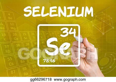 Drawings Symbol For The Chemical Element Selenium Stock