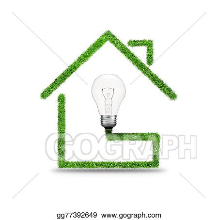Stock Illustrations - Symbol of light bulb and house  Stock