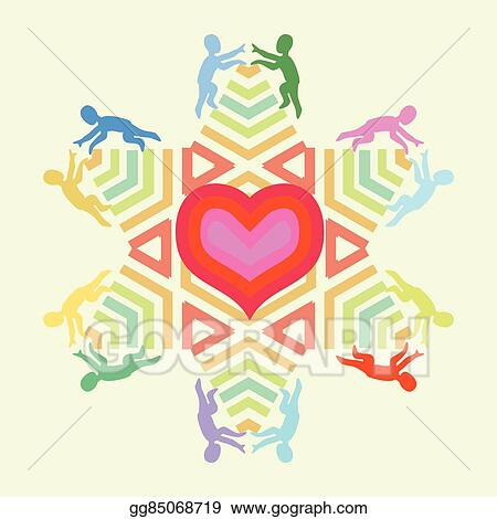 Vector Stock Symbol Of Love And Unity With Heart Star And People Icons Clipart Illustration Gg85068719 Gograph