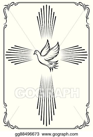 Symbolic Cross And Dove Template Emblem For Church Vector Ilration Design
