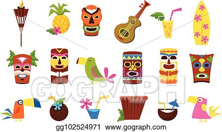 vector illustration symbols of hawaii set tiki tribal masks