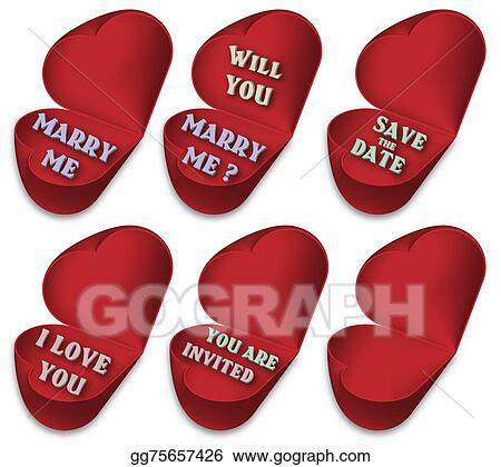 stock illustration symbols of marriage proposal engagement