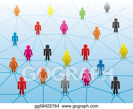 Vector Stock Symbols Of Men And Women In Business Network Clipart