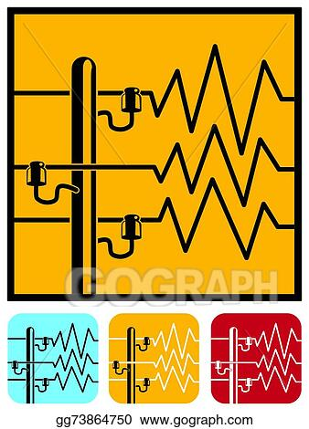 vector clipart symbols of power lines vector illustration