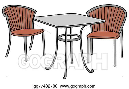 Table And Two Chairs Stock Clip Art
