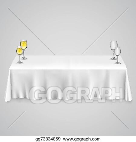 Vector Art Table With A Tablecloth Gles Clipart