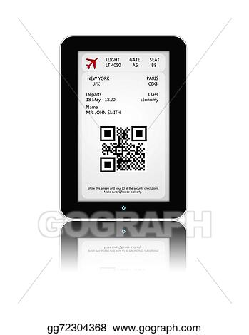 Stock Illustration Tablet With Mobile Boarding Pass Isolated Over