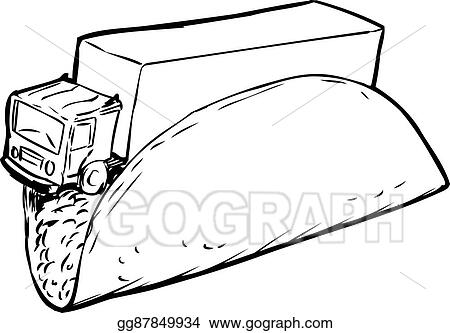 Stock Illustration - Taco truck outline sketch. Clipart Drawing ...