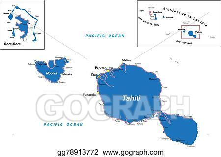 Eps Vector Tahiti And Bora Bora Map Stock Clipart