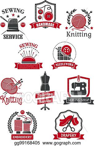 Clip Art Vector Tailor Sewing Shop Symbols For Handmade Design