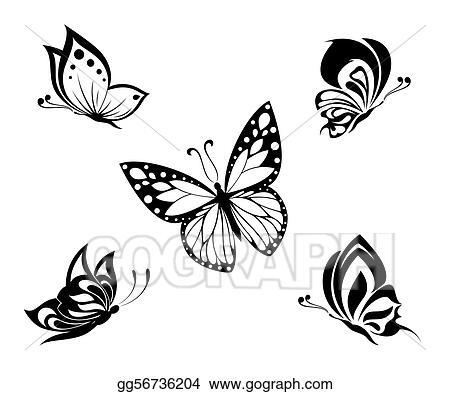 560cdf8a70e8c Set black white butterflies of a t; Tattoo black and white butterflies