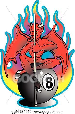 Vector Clipart Tattoo Design Devil 8 Ball Clip Art