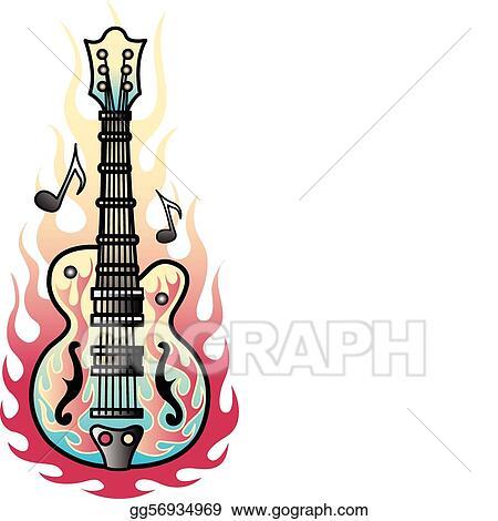 Vector Illustration Tattoo Design Guitar Flames Art Eps Clipart