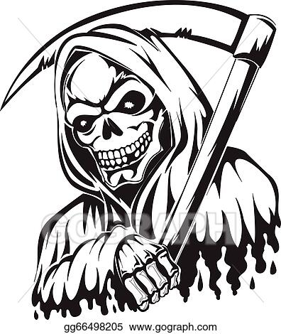 vector art tattoo of a grim reaper holding a scythe vintage