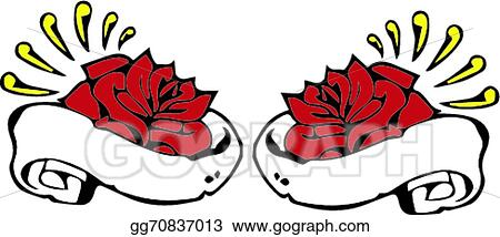 Vector Stock Tattoo Roses With Banners Clipart Illustration