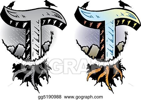 Clipart Tattoo Style Letter T Wit Stock Illustration Gg5190988