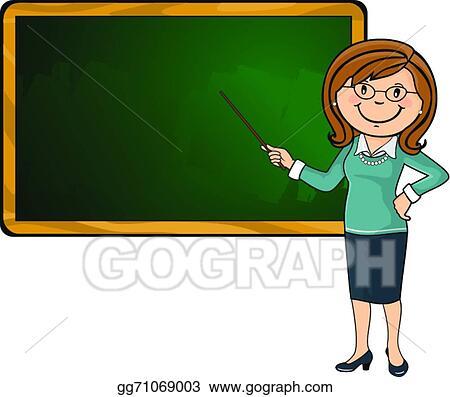 vector stock teacher and blackboard clipart illustration rh gograph com Chalkboard Teacher Pointer Clipcart Teacher Clip Art