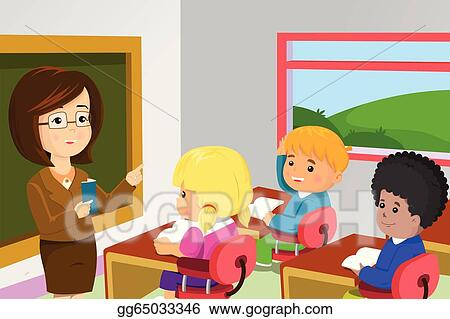 vector art teacher and students in classroom clipart drawing