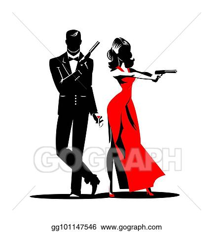 vector stock team of secret agents clipart illustration rh gograph com  secret agent clipart black and white