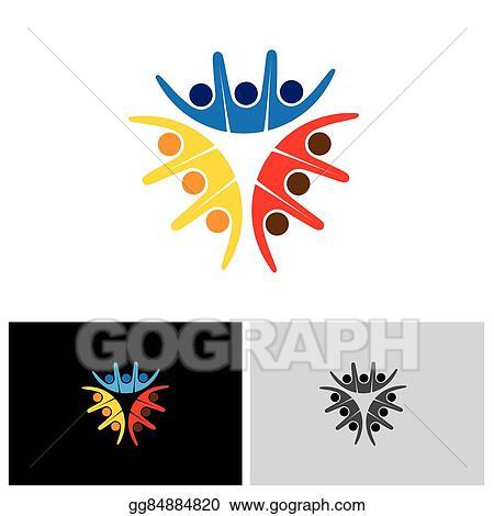 Vector Clipart Team Teamwork Social Network Community Logo