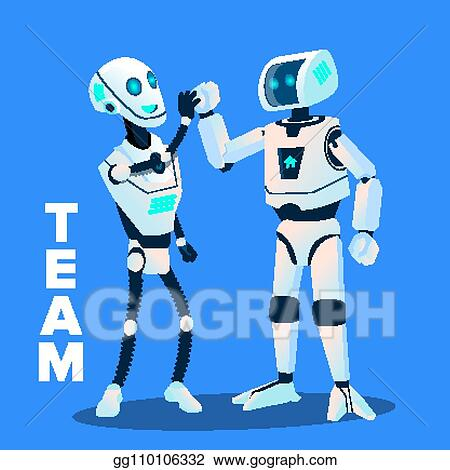 Vector Illustration - Team, two robots give five to each
