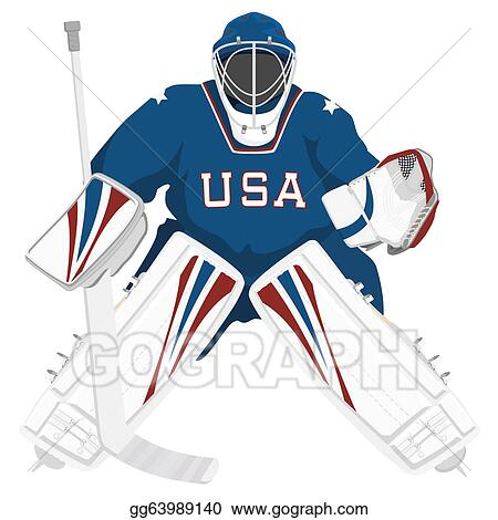 Vector Art Team Usa Hockey Goalie Clipart Drawing Gg63989140