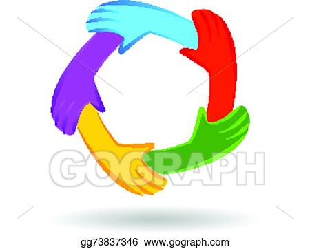 Eps Illustration Teamwork Unity Hands Logo Identity Vector Clipart Gg73837346 Gograph