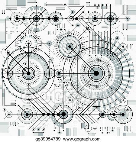 EPS Illustration - Technical drawing with dashed lines and