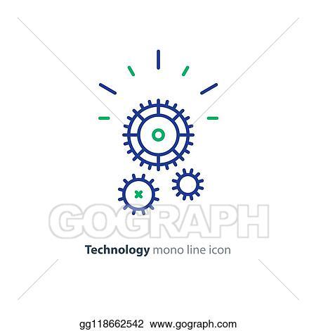 Cogwheels simple icon. Contour illustration Clipart   k57757563   Fotosearch