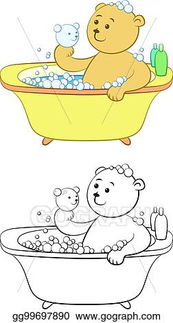 Baby girl taking a bath. Black and white coloring page Clip Art | k42536797  | Fotosearch