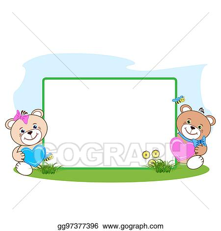 Drawing - Teddy bear with heart frame. Clipart Drawing gg97377396 ...