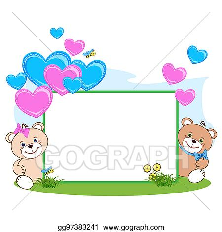 Drawing - Teddy bear with heart frame. Clipart Drawing gg97383241 ...
